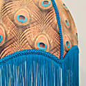 Peacock Feather Print Velvet Dome Shade image