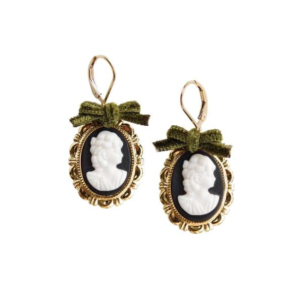POPORCELAIN Dark Romance Goddess Oval Porcelain Cameo Earrings