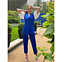 High Waisted Cropped Cotton Trouser (Royal Blue) image