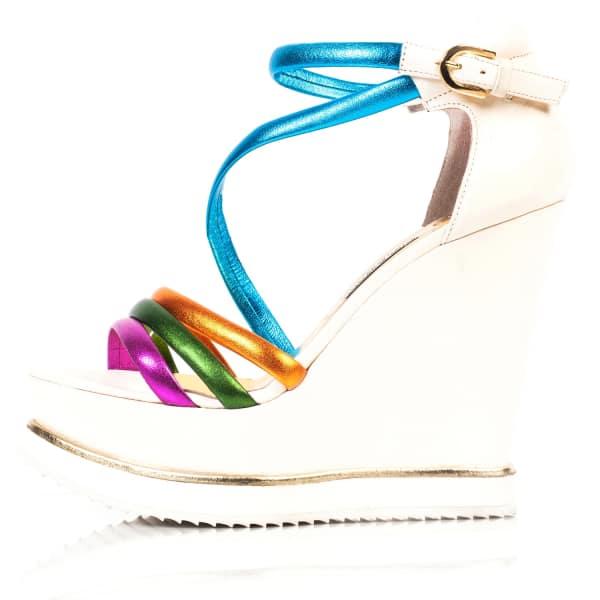 KIM KWANG Colourful Sporty Wedge Sandals White