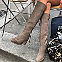 Nubuck Grey Knee-High Boots image