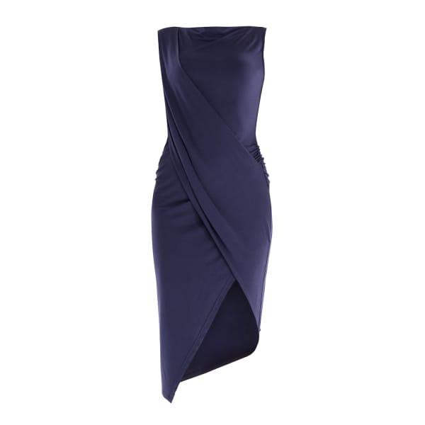 PAISIE Draped Jersey Dress with Asymmetric Hem in Navy