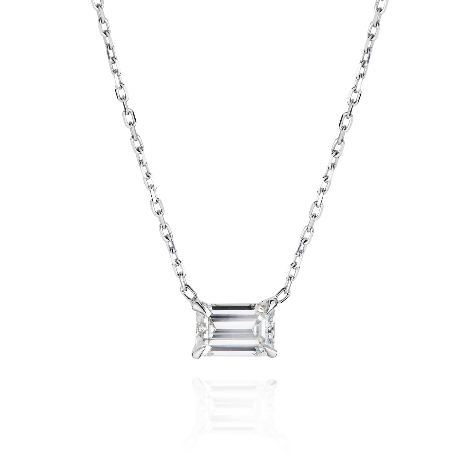 solitaire zirconia silver emerald product necklace sterling cut in cubic