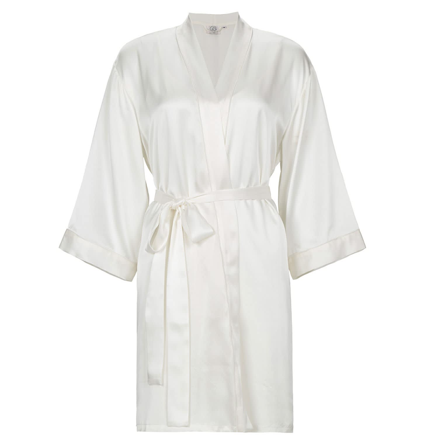 Classic Women Silk Wedding Robe White Not Just Pajama Wolf Badger