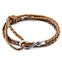 Light Brown Heysham Silver & Braided Leather Bracelet image