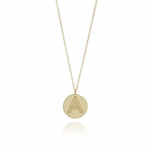 Gold Facett Initial Necklace A-Z