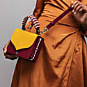 Celina Yellow & Oxblood Red Top Handle Handbag With Interchangeable Oxblood Braided Handle image