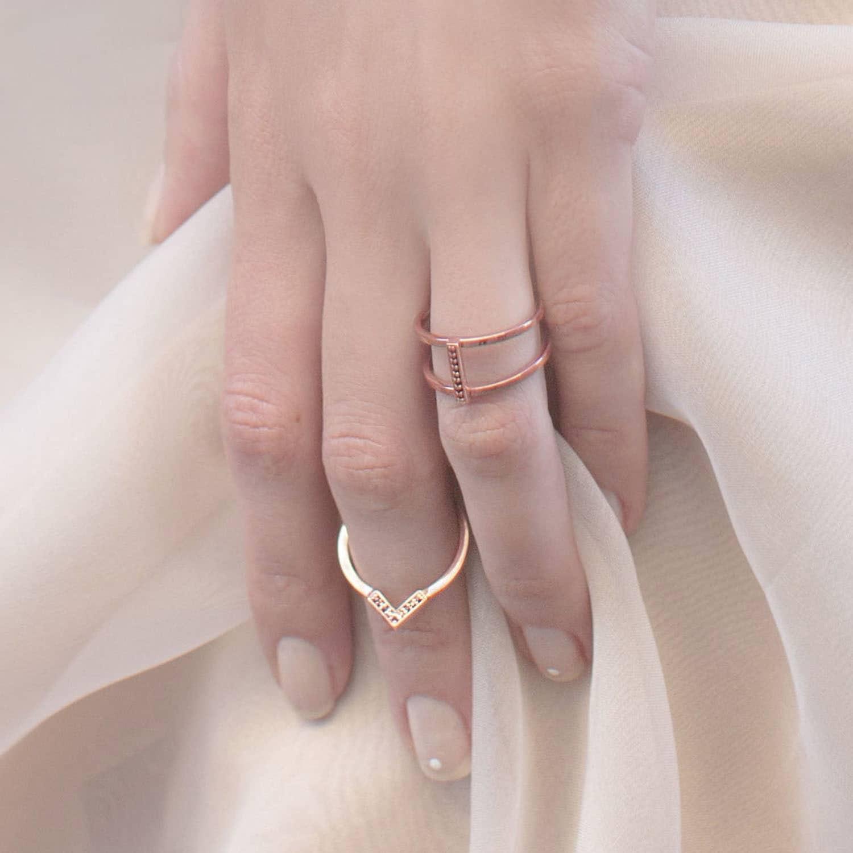 Discreet Diamond Triangle Ring Positive | S/H KOH | Wolf & Badger