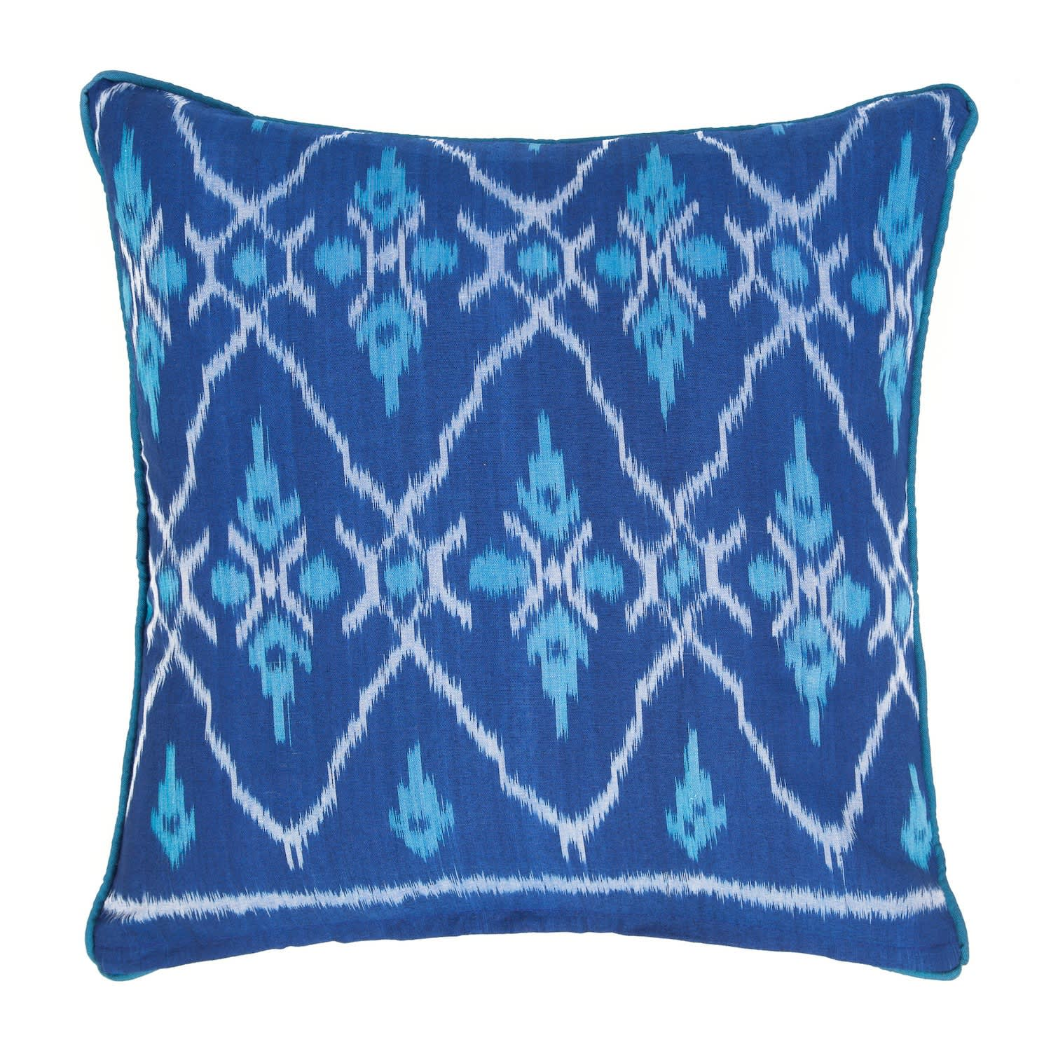 Biru Blue Turquoise Ikat Cushion The World In Cushions Wolf Badger
