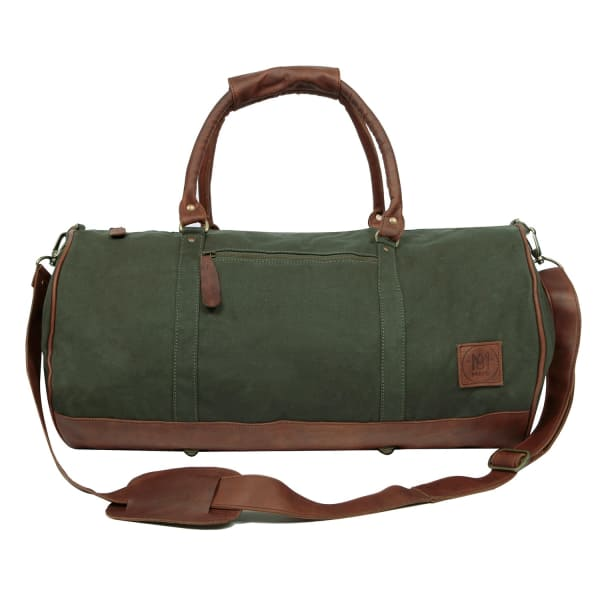Gym Duffle in Green Canvas and Brown Leather