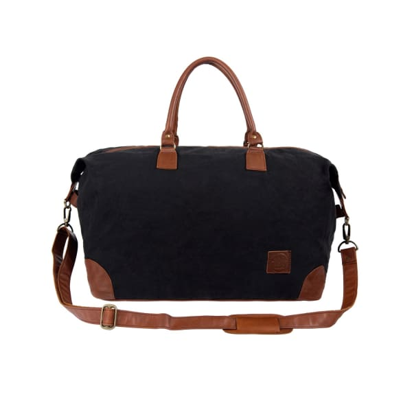 MAHI LEATHER Classic Travel Bag In Black Canvas & Brown Leather