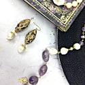 Rhinestones Bordered Amethyst Drop Earrings image