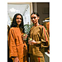 Workwear Shirt In Mustard Plaid Soft Touch 100% Wool & Contoured Orange Stripe image