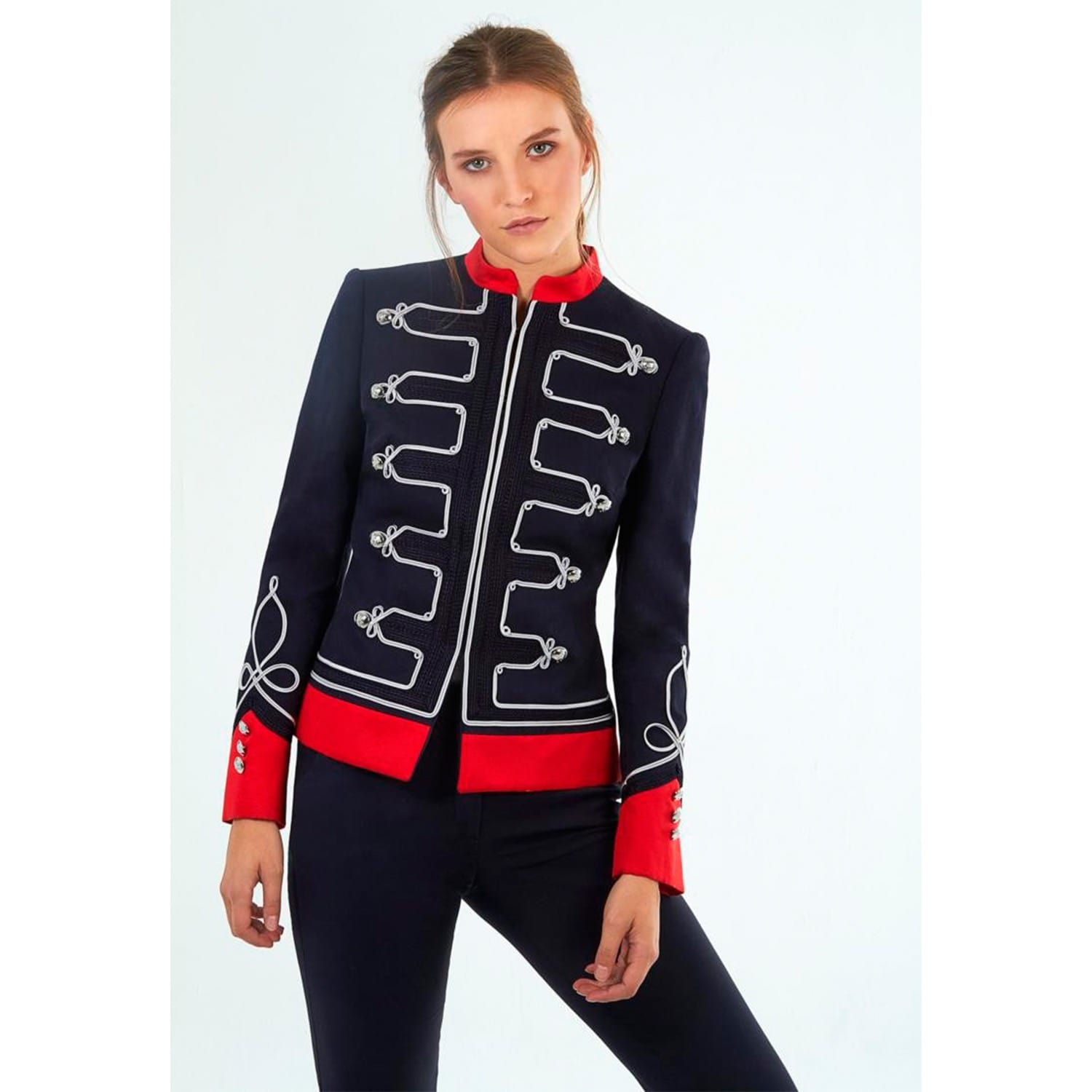 Navy Blue Military Jacket With Embroidiery image dace6152bbb