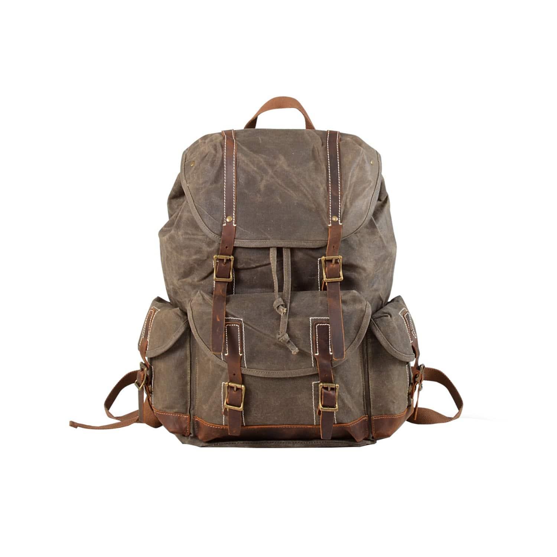 Waterproof Waxed Canvas Backpack Green  b342393845582