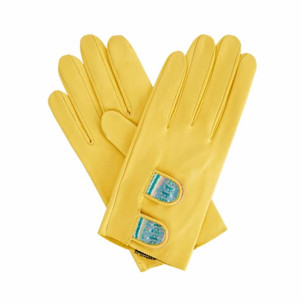 Samantha Bright Yellow Leather Gloves Shades Of Green Braided Barcode Liberty Tana Lawn