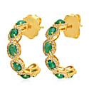 14K Gold Emerald & Diamond Hoop Earring image