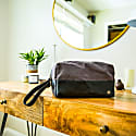 Canvas & Leather Classic Wash Bag In Black & Grey image