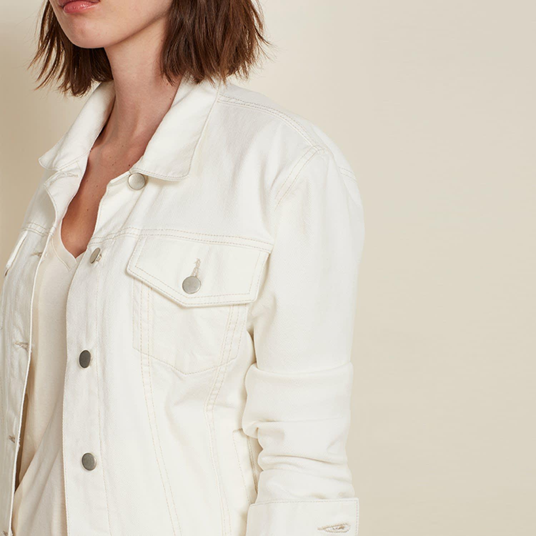 621589efc Denim Jacket In Off White by Baukjen