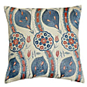 Blue Leaf Design Silk Suzani Cushion image