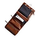 Hanging Tan Leather Wash Bag image