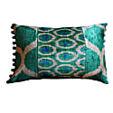 Pretty Duck Egg Blue & Pink Ikat Patchwork Cushion image