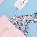 Island High Leg Ruche Side Bikini Bottom In Blue Wind Print image