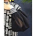 Fuzzy Print Mesh Sleeve Crop Top image