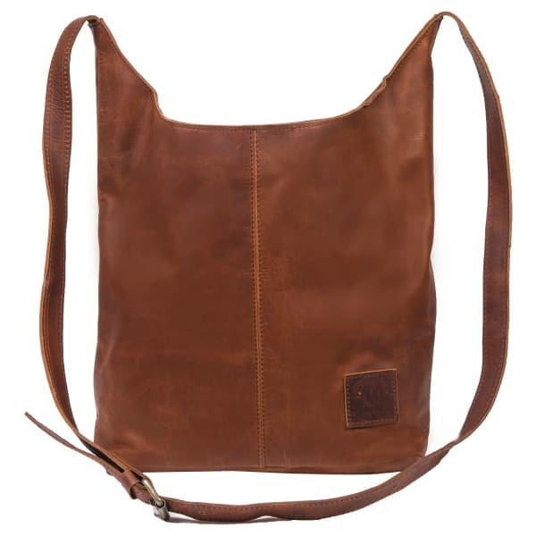Leather Dixie Boho Tote Bag Shoulder/Across Body Handbag in Vintage Brown