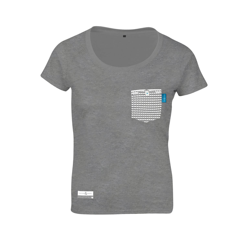 Athletic Grey Marker Print Organic Cotton T-Shirt (Womens
