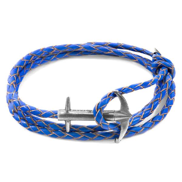 Anchor & Crew Bracelets Royal Blue Admiral Anchor Silver & Braided Leather Bracelet