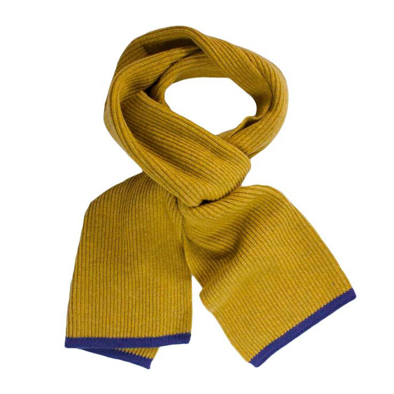 6c479e67a Mustard Petrol Blue Small Ribbed Wool & Cashmere Scarf | 40 Colori ...
