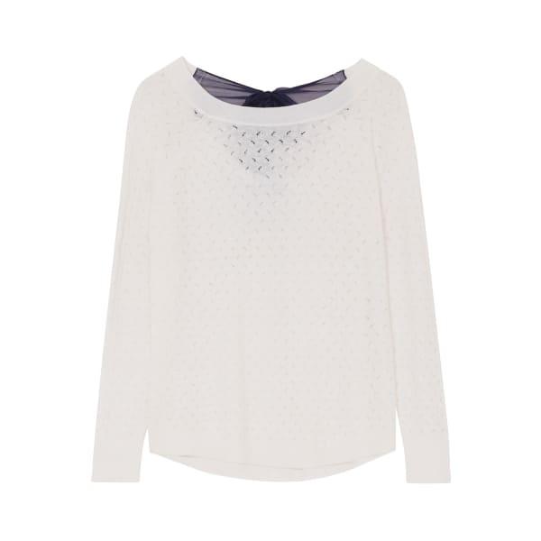 ILLE DE COCOS Fantasy Bow Sweater White & Navy