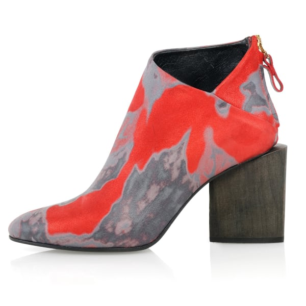 KIM KWANG Watercolour Effect Ankle Boot Red