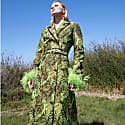 Green Coat With Detachable Feathers Cuffs image
