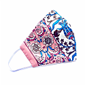 Pink & Off-White Double-Layer Silk Iznik Print Face Mask image