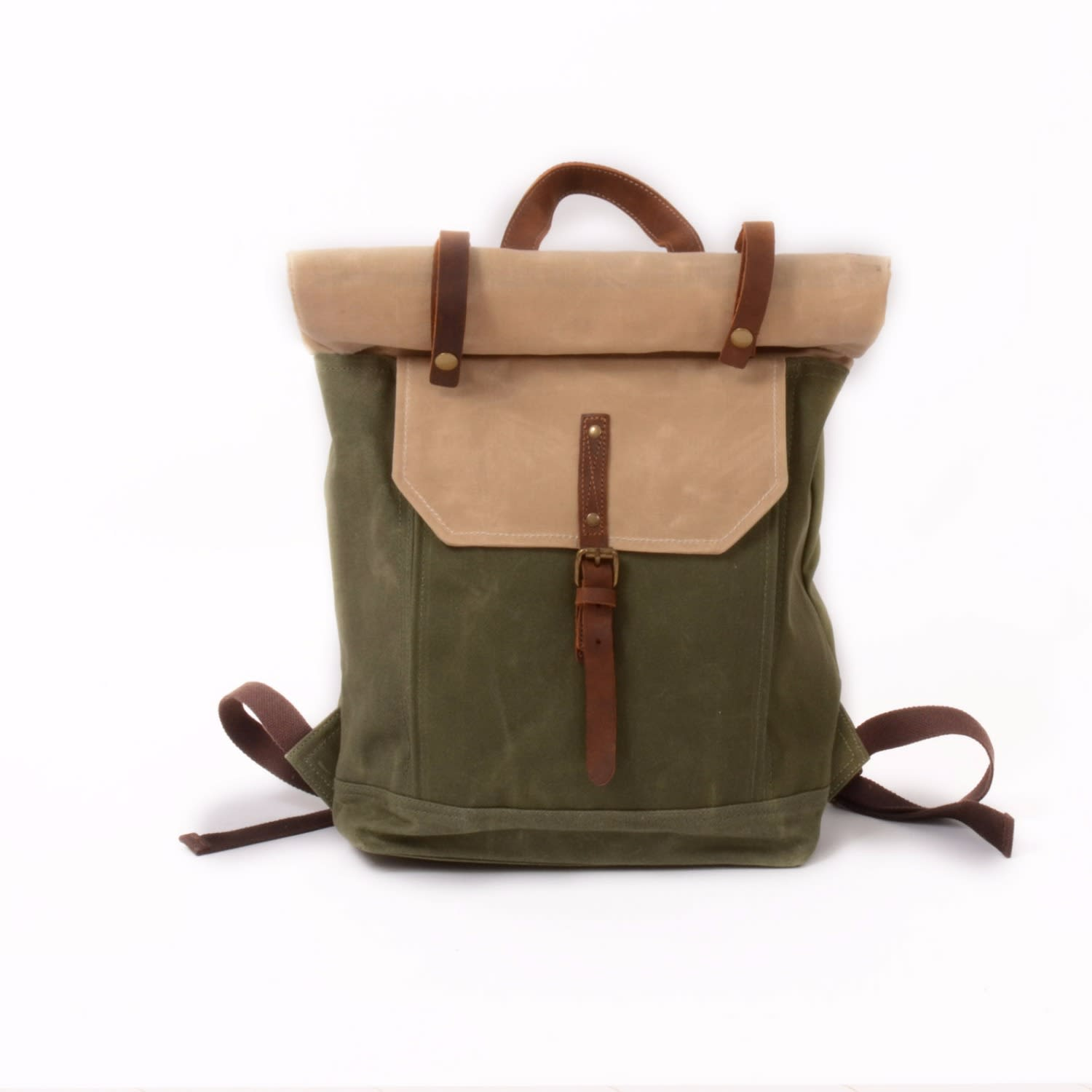 Roll Top Waxed Canvas   Leather Backpack Cream   Green  31d00f1a0f81e