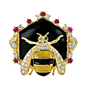 18Kt Yellow Gold Cocktail Honey Bee Ring Daimond Ruby Gemstone Enamel Jewelry image