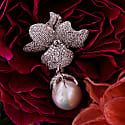 Baroque Pearl White Flower Drop Earring Silver image