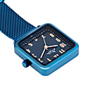 Annie Apple Square Rose Gold & Blue Mesh Nurse Fob Watch image