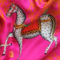 Kalighat Horse Silk Scarf Pink image