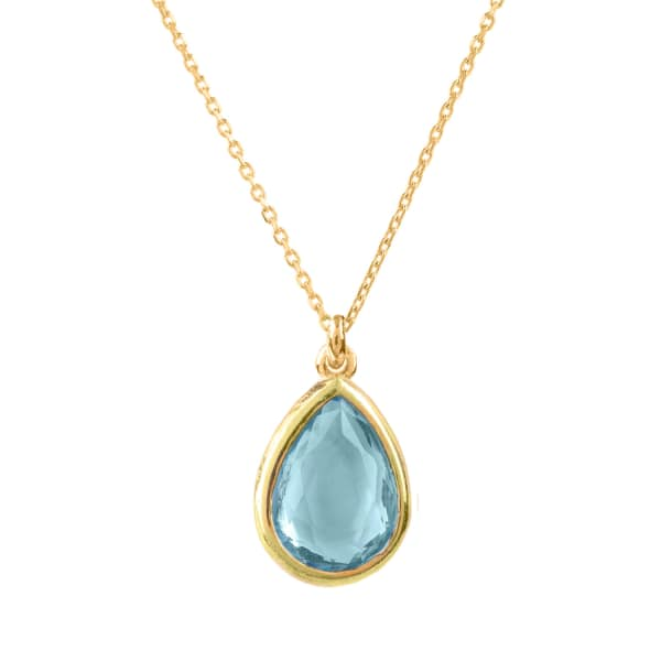 Pisa Mini Teardrop Necklace Gold Blue Topaz