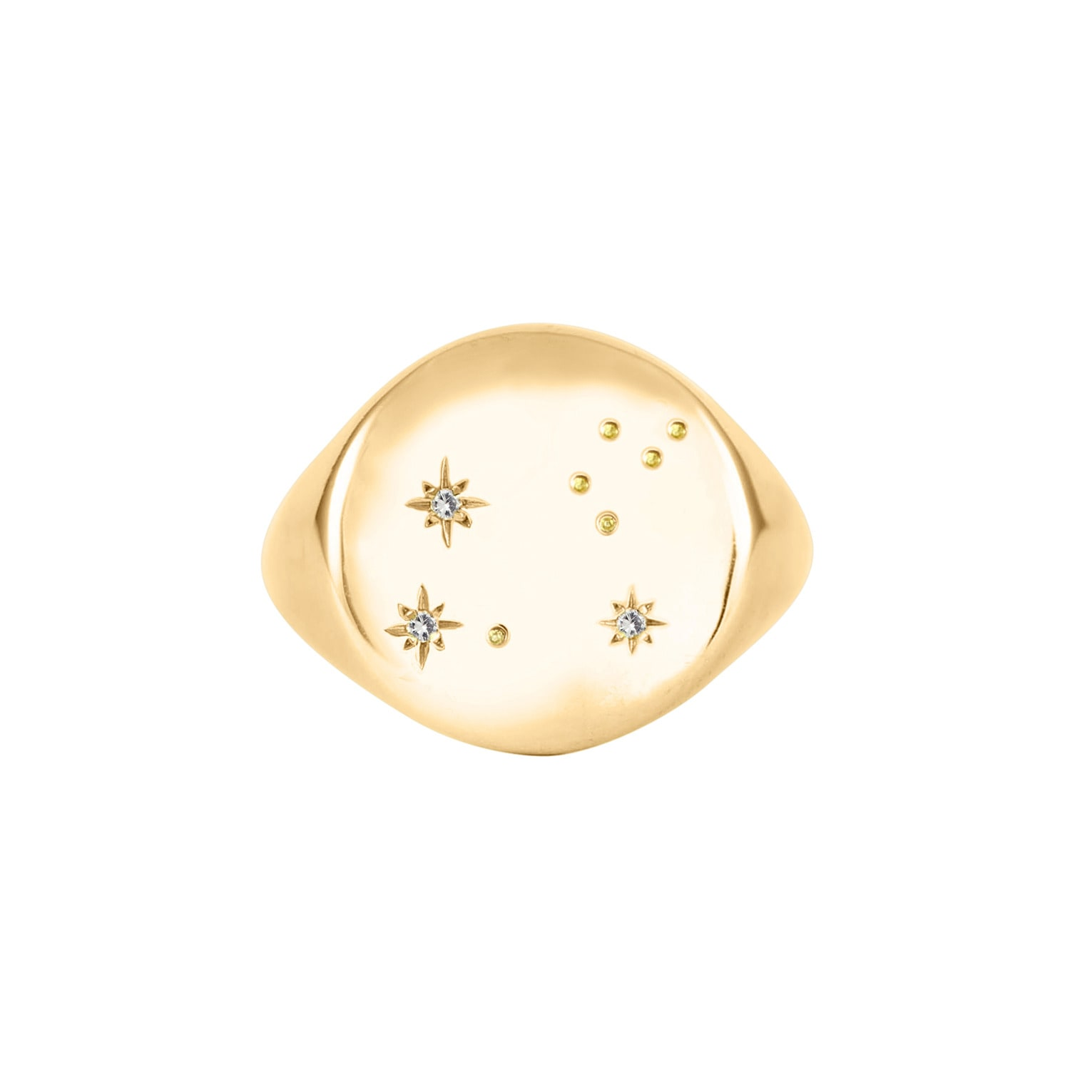 No 13 - Leo Constellation Signet Ring Diamonds & 9ct Gold