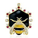 18Kt Yellow Gold Diamond Honey Bee Pendant Ruby Gemstone Enamel Jewelry image