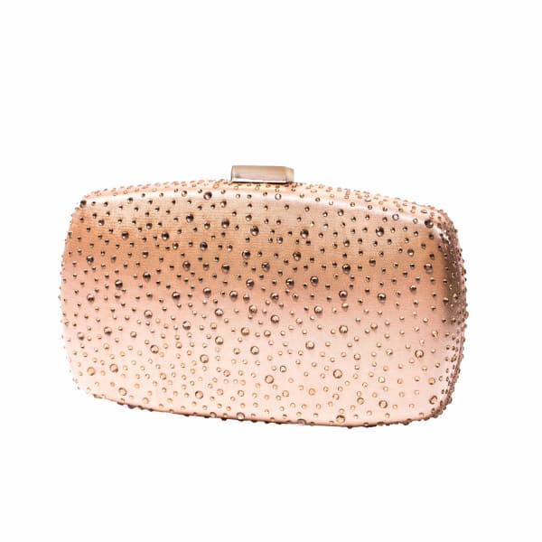 NISSA Nude Clutch With Transparent Crystals