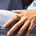 18Ct Gold Vermeil Hammered Pattern Band Ring image