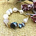 White & Purple Baroque Freshwater Pearls Bracelet image