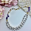 Freshwater Pearls & Natural Charoite Double Strands Necklace image