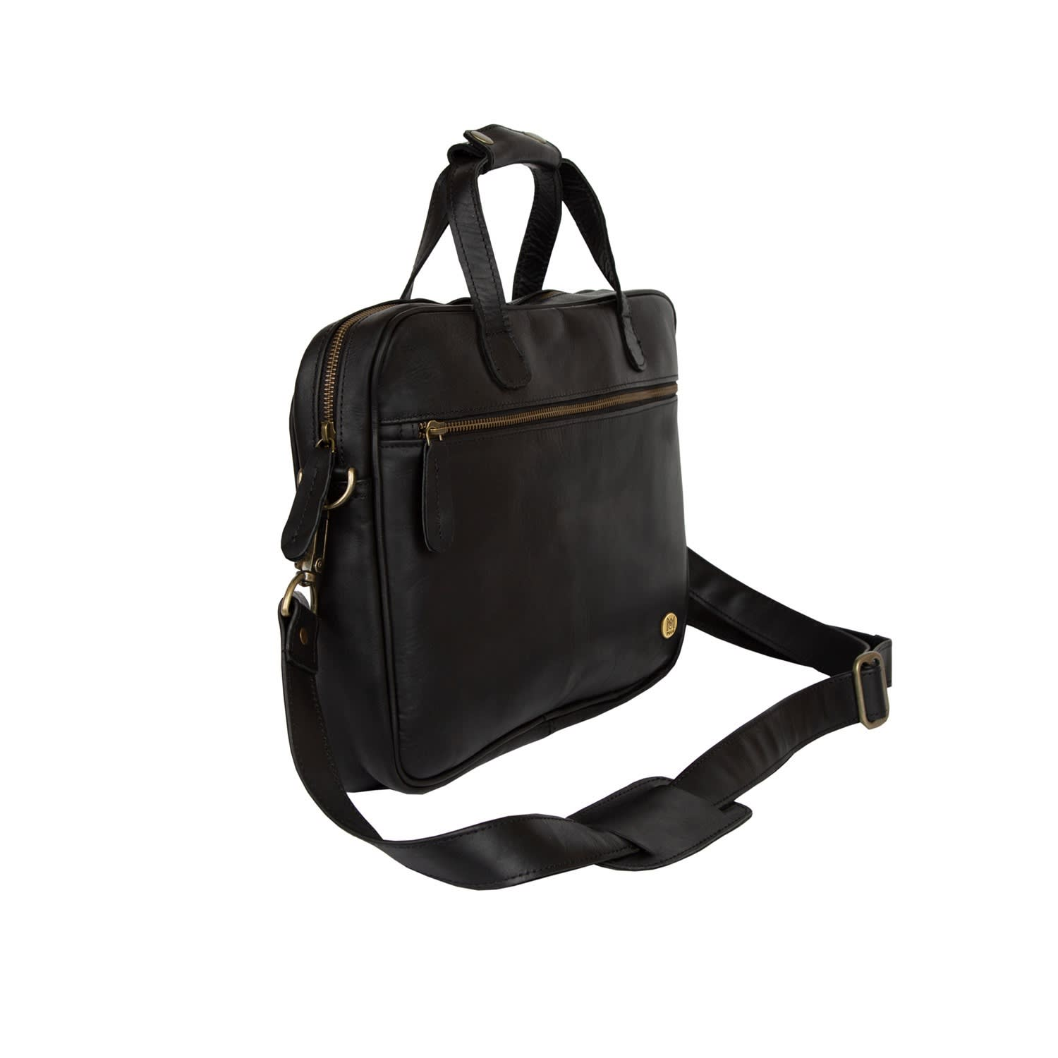 aecf697a3d Compact Leather Laptop Satchel Bag In Black image