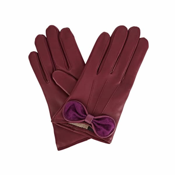 GIZELLE RENEE Polly Purple Leather Gloves With Plum Cashmere